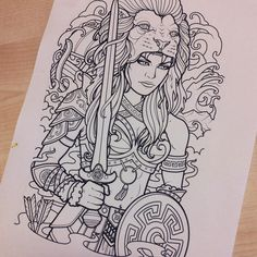 """""""My progress on a full half sleeve tattoo design for Justin Lema. He asked for a female version of Hercules with a lion headdress with leather armor and of…"""""""