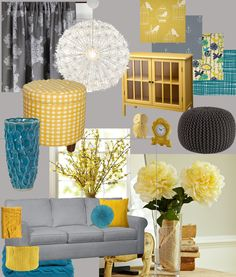 My Living Room Design Board: yellow, teal and grey. Love the yellow cabinet