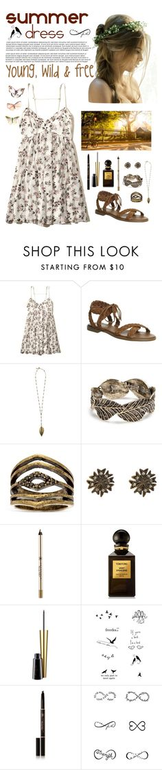 """""""Summer Dress"""" by whims-and-craze ❤ liked on Polyvore featuring Hollister Co., Office, Boho Gal, Red Camel, Steve Madden, Cathy Waterman, Anastasia Beverly Hills, Tom Ford, MAC Cosmetics and Tattify"""