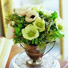 Anemones nestle among juniper branches in a vintage sugar bowl.