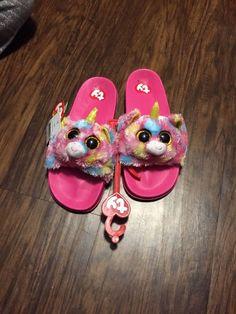 5ea30e63dea4 Girls youth size Ty Beanie Boo Dotty Leopard slide on flip flop slippers.