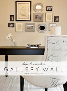 Gorgeous Gallery Wall. Mix and match pictures, paintings/drawings and small mirrors. (Blog has adorable DIY projects)