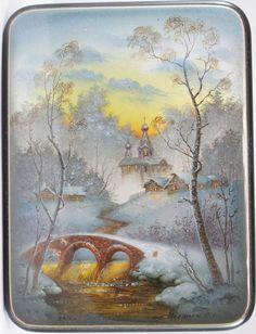 Pershin,  Fedoskino lacquer box, Winter landscape