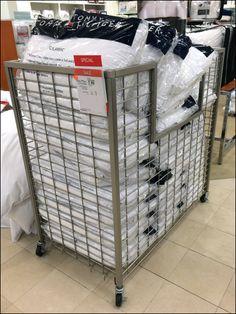 Tom Hilfiger Pillow Bulk Bin on Wheels Main Store Fixtures, Ceiling Fixtures, Tommy Hilfiger, Ikea, Sweet Home, Pillows, Wheels, Retail, Showroom