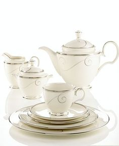 """Friday night book club ladies will love your sophisticated tea-ware, even if you are reading """"The Confessions of a Shopaholic"""". Formal Dining Tables, Elegant Dining, Dinnerware Sets, China Dinnerware, Dining Ware, Cafetiere, Teapots And Cups, China Sets, Dinner Sets"""