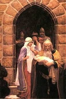 """So the child was delivered unto Merlin,    and so he bare it forth"" by N. C. Wyeth"