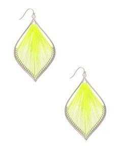 Neon Leaf Drop Earrings