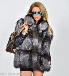 NEW SAGA SILVER FOX FUR VEST CLAS OF JACKET SABLE MINK LYNX CHINCHILLA BLUE COAT