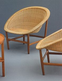 Basket chair, created in the 1950s by Danish designers Nanna and Jörgen Ditzel. Now again in production