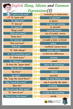 Popular Slang Words, Idioms and Expressions in English - ESLBuzz Learning English Slang English, Learn English Grammar, English Writing Skills, Learn English Words, English Phrases, English Language Learning, English Fun, English Lessons, English Vocabulary