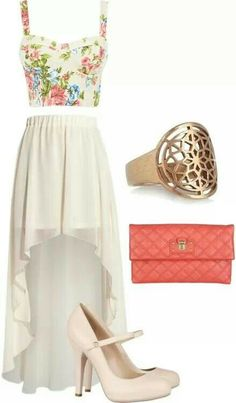 #outfit #highlow #skirt #handbad #ring #floral