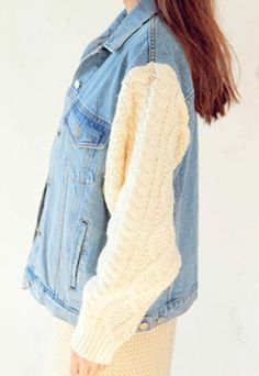 Contrast Color Splicing Cable Knitted Denim Jacket Loose Fitted Coat
