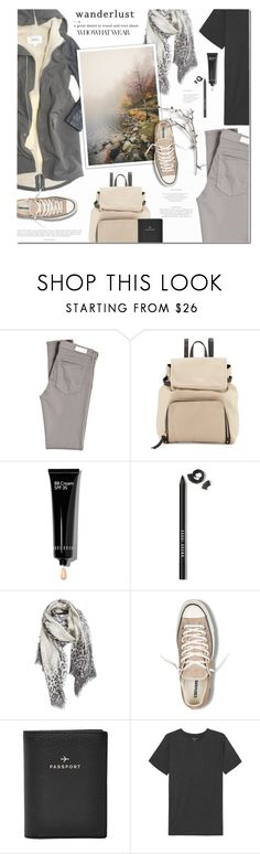 """""""Wanderlust"""" by anna-anica ❤ liked on Polyvore featuring IDeeen, Mason's, Who What Wear, AG Adriano Goldschmied, Kate Spade, Bobbi Brown Cosmetics, Nordstrom, Converse, FOSSIL and Majestic Filatures"""