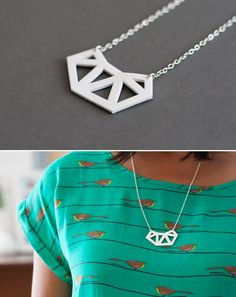 DIY Geo Pendant Necklace from shrink film