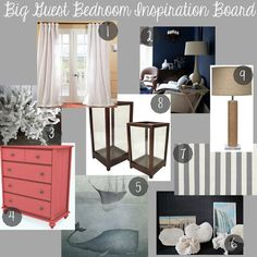 Big Guest Bedroom Inspiration Board | One, Two, Three, Foursquare  Nautical, Navy Blue, Dark Blue, Coral, Pink, Grey, White, Stripe, Whale, Lake, Rope, Lamp, Quilt, Rattan, Ceiling fan, Light