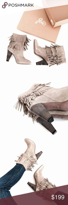 🆕 Listing! JOIE Rockafella fringe winter booties JOIE Rockafella fringe winter booties.   Description: Who doesn't love fringe especially on a boot?! City chic with western flare. Pair with skinny jeans and a simply white button...or push the envelope and pair with a dress! Either way it is a win win!   Mushroom grey, tan coloring. Quality suede leather. Sold out online. New in box.  Condition as pictured. Please note that the boxes/shoes might have some wear from storage.   Open to…