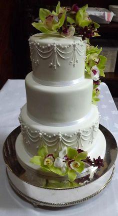 White Pearl Drape & Fresh Orchid Wedding Cake :) x - Cake by Storyteller Cakes
