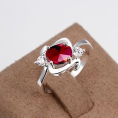 Classic Silver Plated Plant Red Glass Ring for Women SPR736 2