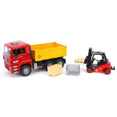 Köp MAN TGA Lastbil med Tippflak och Linde Gaffeltruck på nätet. Du hittar även andra Fordon produkter från Bruder hos Lekmer.se.