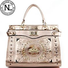 Click Here and Buy it On Amazon.com $59.99 Amazon.com: Nicole Lee Jasmine Crown Designed Tote Turn Lock Rhinestone Gemstone Studded Floral Shiny Patent Leather Structured Tote Satchel Handbag Purse with Adjustable Shoulder Strap in Champagne: Clothing