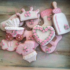 Shabby chic baby girl shower cookies# CreativecookiesBelgrade