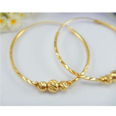 1 Earrings With Diamond-Cut Beads Thai Bath Yellow Earrings Hoop Gold Plated Jewelry Fashion For Women Mom Girls Gift Jewelry Design Earrings, Gold Earrings Designs, Gold Jewellery Design, Necklace Designs, Pendant Jewelry, Gold Jewelry, Hoop Earrings, Solid Gold Bangle, Gold Bangles