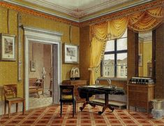 Biedermeier Interior, Danzig,  Germany, by Leopold Zielcke.  This looks like somebody's private office and I don't know for sure, but I'd guess that the odd object over in the lower right-hand corner is a paper shredder.