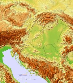 Detailed Terrain Map of Hungary and the surrounding region Fantasy Map, Earth From Space, Topographic Map, Historical Maps, Bosnia And Herzegovina, Montenegro, Slovenia, Croatia, Around The Worlds