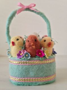 Spun Cotton and Needle Felted Basket of Chicks by by MRCROWSGARDEN, $44.99