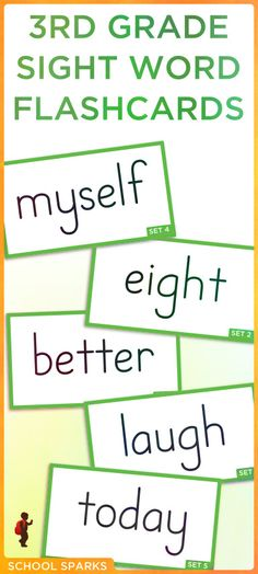 Free third grade Dolch sight word flashcards. Each page contains eight sight word flashcards.