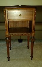 VINTAGE CARVED NIGHTSTAND / END TABLE BY NORTHERN FURNITURE COMPANY  SHEBOYGAN