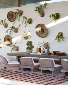 Zambian baskets and staghorn ferns hang on the wall, and the rug is Moroccan.