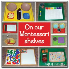 The set of learning trays currently displayed on our Montessori shelves.