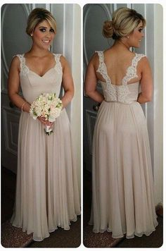 2016 Chiffon Straps Bridesmaid Dresses Lace Open Back Floor Length Elegant A-line Maid of Honor Dresses