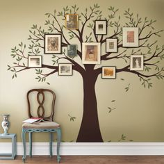 Family Tree Wall Decal, Two colors, Family Tree Decal, Tree decal - Simple Shapes Wall Decals, Furniture, and Accessories