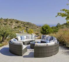 Salon de jardin résine Salermo 12 places avec coussins blanc - Decotaime