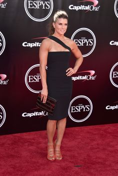 Danica Patrick poses for photographers on the ESPYS Red Carpet outside of the Microsoft Theater in Los Angeles, CA, 7/13/16.