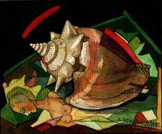 "Victor Shmokhin ""Ракушка на репродукции"" 1992г. Бумага /акварель.  12,0х13,0 (№406)"