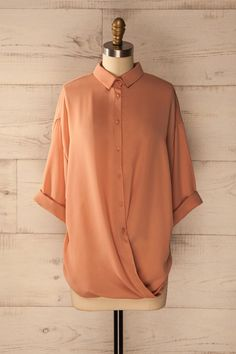 Lazonby - Peach blouse with 3/4 sleeves