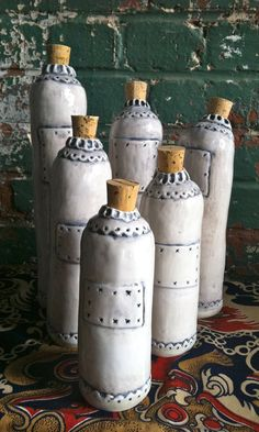 Porcelain Water or Tea Pottery Bottle with Cork