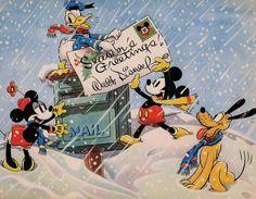 mothgirlwings:  Walt Disney Studios Christmas Card for 1936