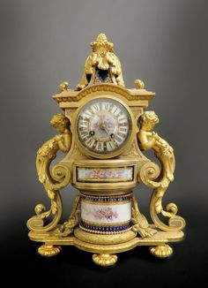 19th C. Fine French Bronze & Sevres Porcelain Clock : Lot 0548