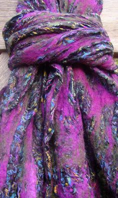 Dreaming of fall. Felted vintage sari scarf.