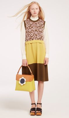 Orla Kiely Blossom Flower Jacquard Fitted Dress worn with Orla Kiely Silk Crepe Shirt and Orla Kiely Giant Flower Leather Large Bonnie Bag