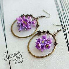 LILAC FLOWER earrings polymer clay earrings by WowLovelyShop