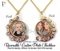 Double Sided Custom Photo Necklace or Key Chain - Personalized Photo Reversible Charm - Always on my Mind, Forever in my Heart Wedding Bouquet Memorial Charm - Wedding nacklaces (*Amazon Partner-Link)