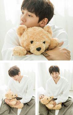 Ji Chang Wook with a teddy bear - Cute!