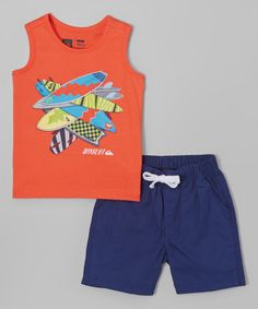Look what I found on #zulily! Orange Surfboard Tank & Navy Shorts - Infant & Toddler by Quiksilver #zulilyfinds