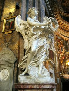 Angel with the Crown of Thorns-Gian Lorenzo Bernini-Saint Andrew of the Woods-Rome, Italy-c. 1669