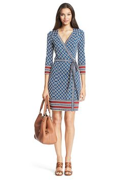 Tallulah Silk Jersey Wrap Dress in Square Diamonds/Striped Bands (Diane von Furstenberg) Casual Dresses, Fashion Dresses, Dresses For Work, Wrap Dresses, Office Dresses, Wrap Around Dress, Batik Dress, Professional Outfits, Latest Dress